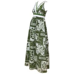 Hawaiian 1970's Liberty House Barkcloth Tiki Cotton Dress