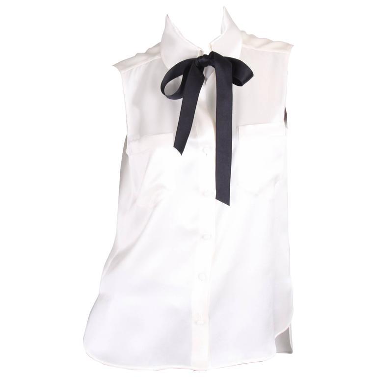 Chanel Silk Sleeveless Blouse - ivory white  1