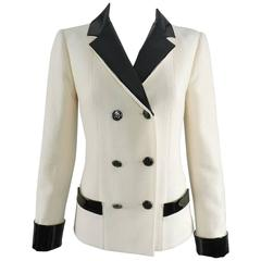 Chanel 15A Ivory Wool Jacket with Patent Leather Trim