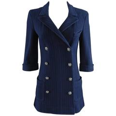 Chanel Navy Jacket with Enamel Buttons