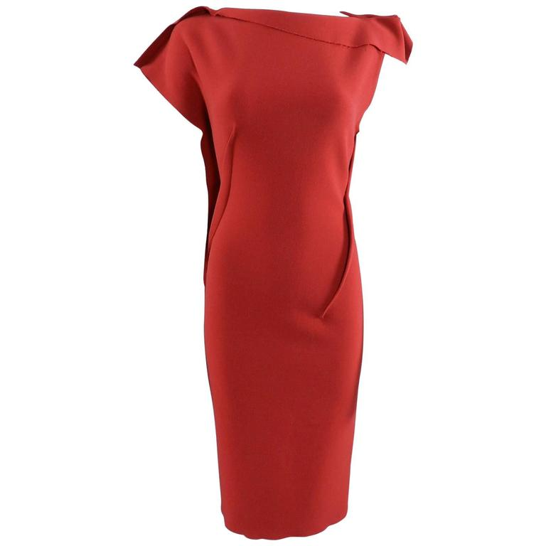 Lanvin Red Fitted Dress with Raw Edges