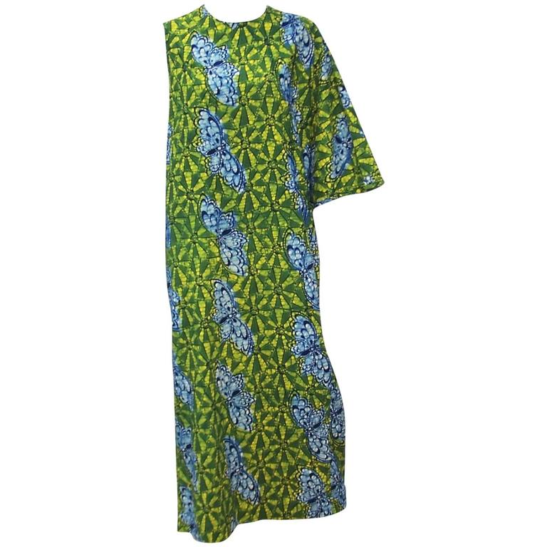 Exotic 1960's Colorful Batik Caftan With Butterfly Motif  For Sale