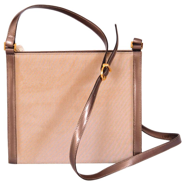 Ferragamo Bronze Metallic Leather and Fabric Bag, Never Used