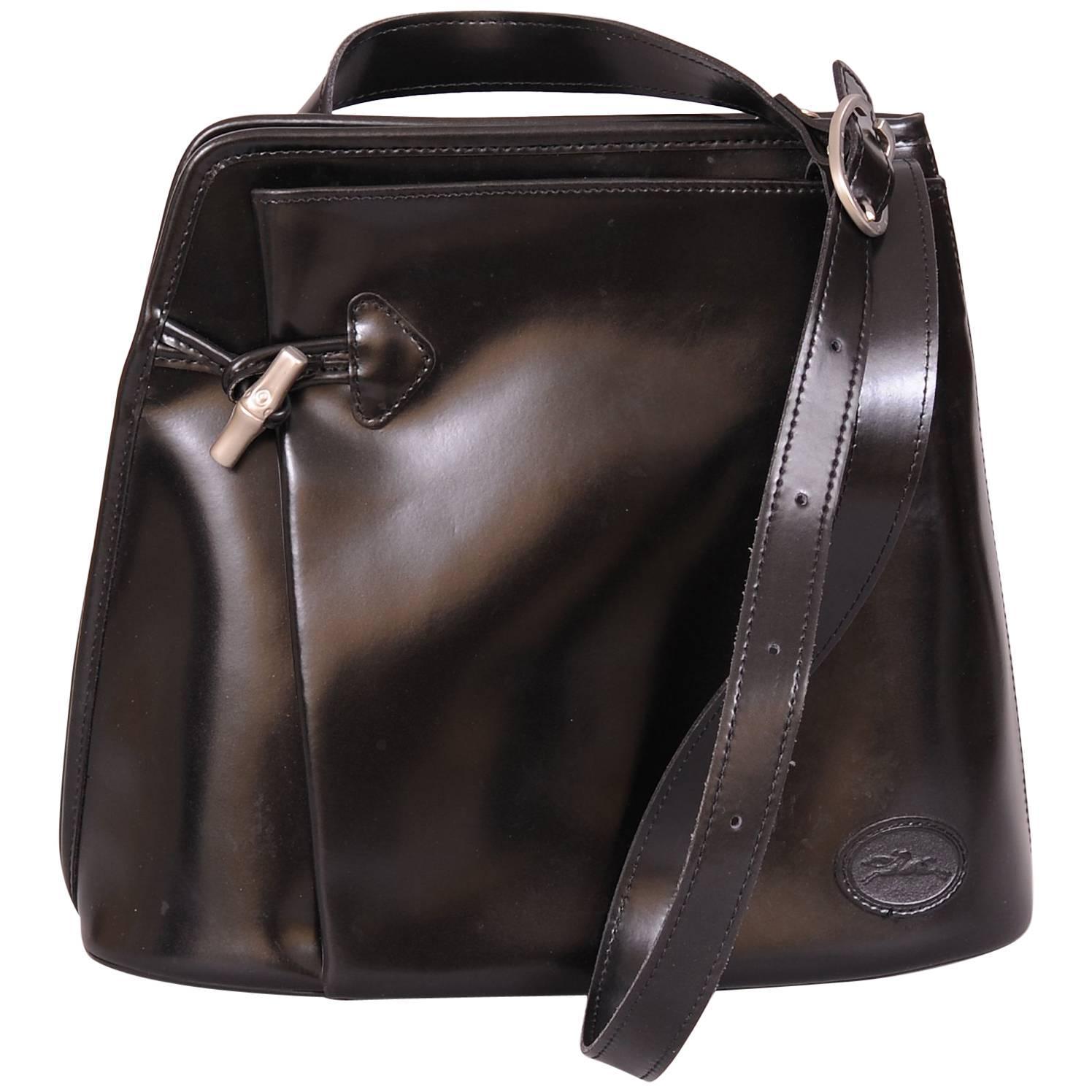Longchamp Vintage Black Leather Shoulder Bag, Unusual Zipper Opening
