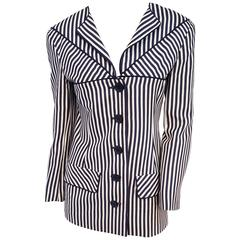 80s Valentino Black & White Striped Jacket