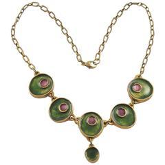 Mid Century Modern Gilded Bronze & Enamel Choker Necklace Green & Purple Color