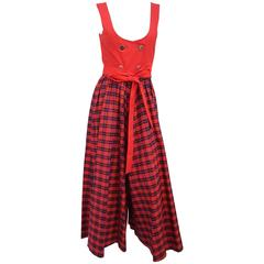 70s Red Plaid Wide Leg Underbust Jumpsuit