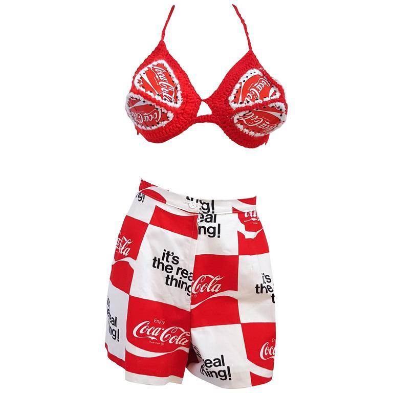60s Pop Art Coca Cola Wearable Art Bikini and Shorts Set