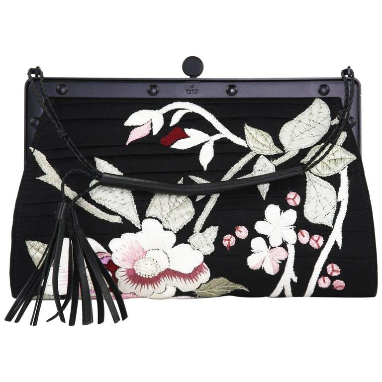 90a3be3852b Tom Ford for Gucci S S 2003 Japanese Flowers Black Silk Frame Bag Clutch For