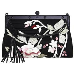 Tom Ford for Gucci S/S 2003 Japanese Flowers Black Silk Frame Bag Clutch
