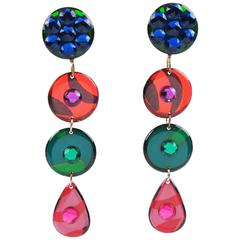 Italian Pop Art Dangling Geometric Chandelier Lucite Clip-on Earrings Multicolor