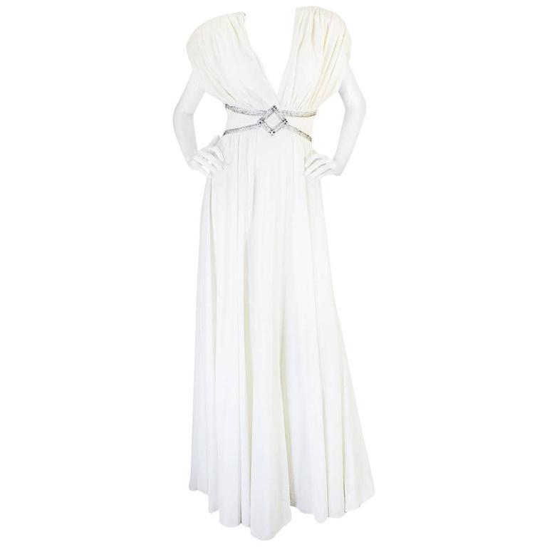 1970s Frank Usher Grecian Draped Beaded Jersey Dress 1