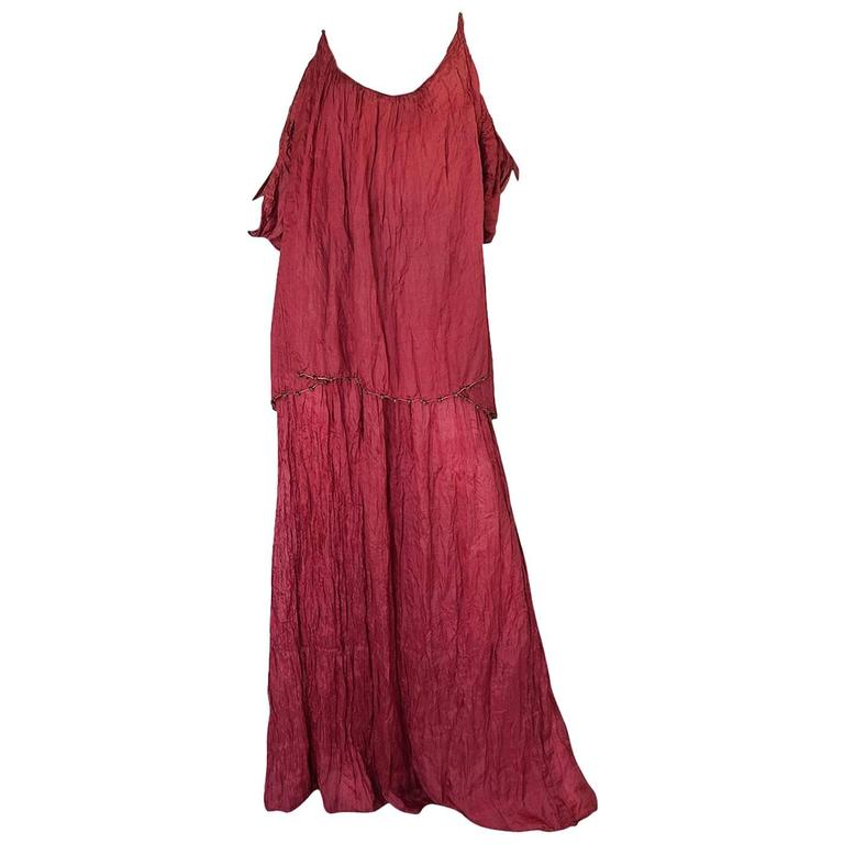 c1907-1920 Mariano Fortuny Pleated Muted Raspberry Silk Gown For Sale