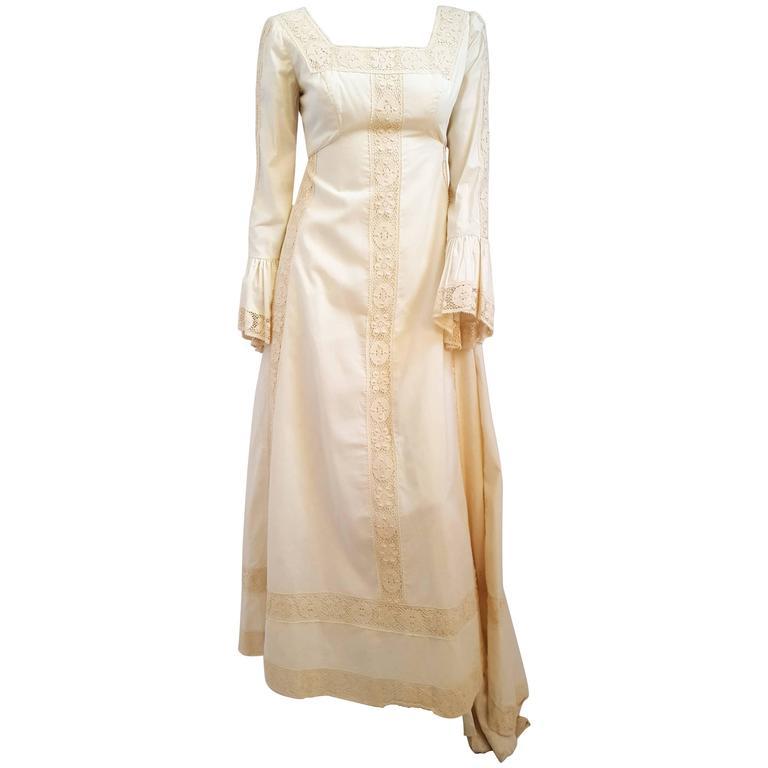 70s Emma Domb Medieval Style Cotton Wedding Dress w/ Train