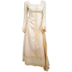70s Emma Domb Medieval Style Cotton Wedding Dress w/ Train