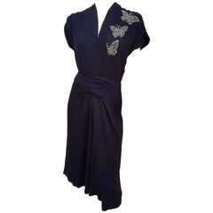 40s Black Crepe Dress w/ Beaded Butterflies