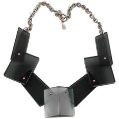Modernist Transparent Smoke Gray Lucite & Silvered Metal Geometric Bib Necklace