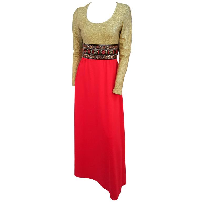 70s Gold and Red Lamé Maxi Dress For Sale