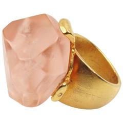 Dominique Denaive Paris Oversized Pink Resin Stone and Gilt Metal Cocktail Ring