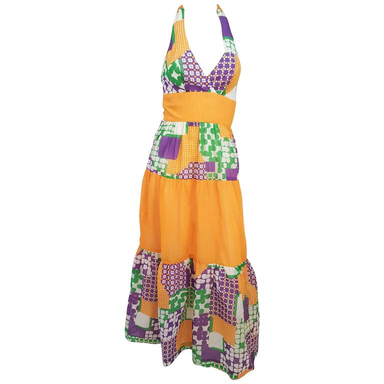 70s Printed Cotton Halter Maxi Dress For Sale