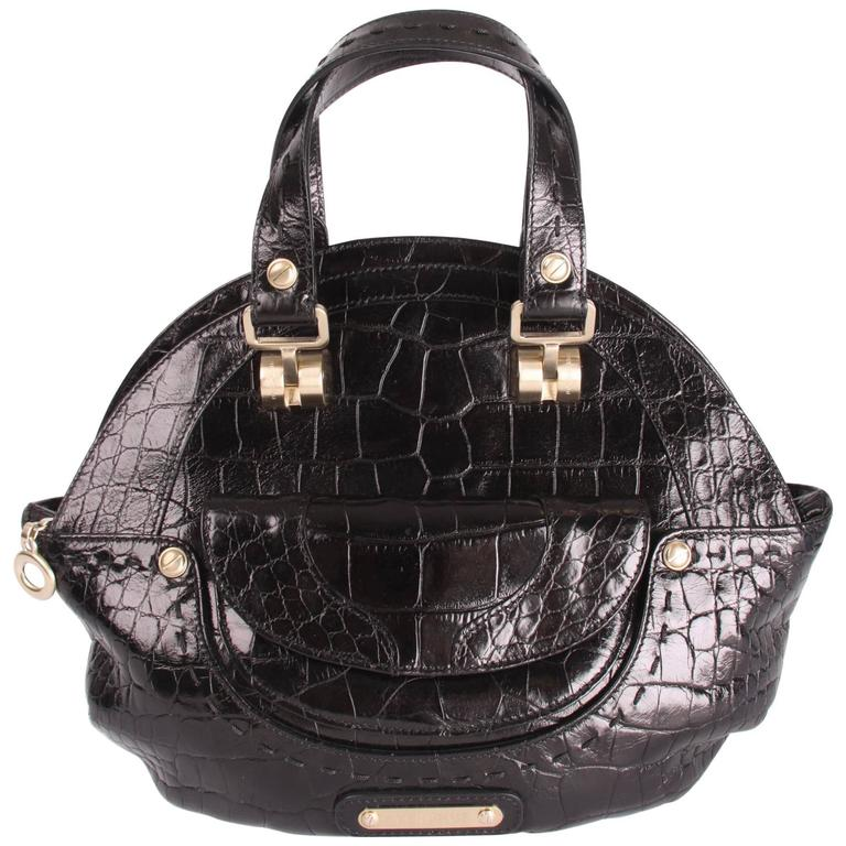 Versace Croco Print Leather Top Handle Bag Black For