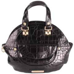 Versace Croco Print Leather Top Handle Bag - black