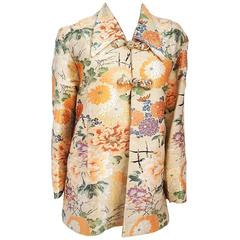 50s Orange Floral Asian Brocade Jacket