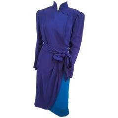 1980s Paul Louis Orrier High Collar Dress