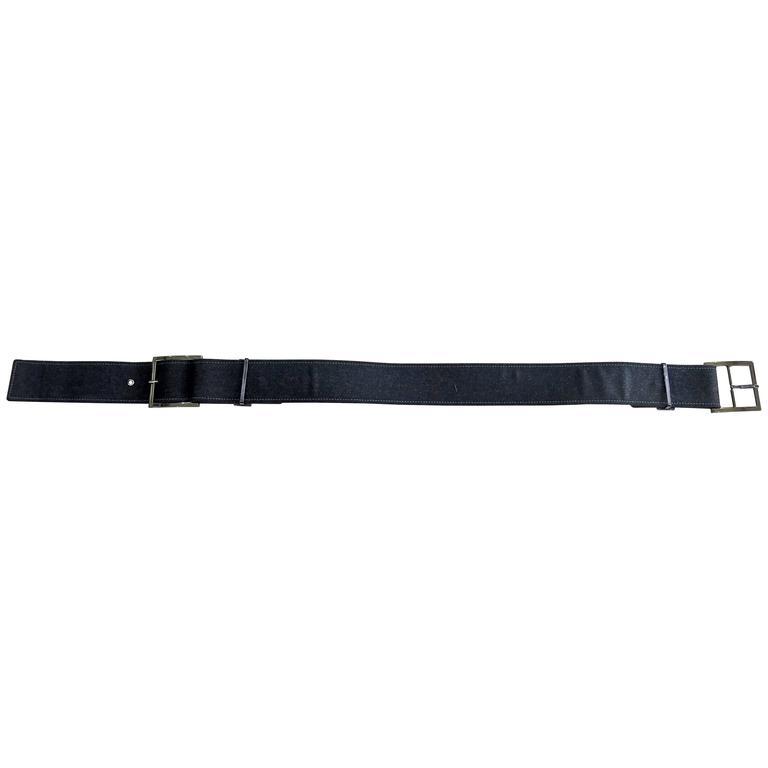 Oscar de la Renta Wool and Leather Belt