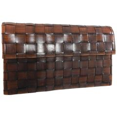 Yves Saint Laurent Haute Couture Brown Woven Leather Clutch Purse