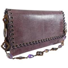 Yves Saint Laurent haute couture Purple Lizard and Amethyst clutch purse