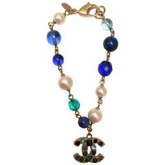 Chanel Bracelet - Gold Tone - Pearl - Blue Green Stones with Gripoix
