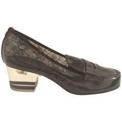 Chanel Black Lace Clear Loafers With Acrylic Heels Sz 38 (Us 7.5)