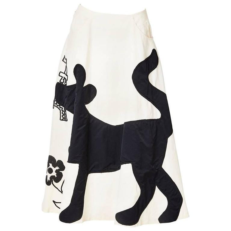 Castelbajac Whimsical Embroidered and Applique Skirt For Sale
