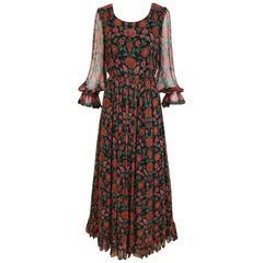 1970s rose print silk floral bohemian maxi dress