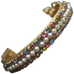Miriam Haskell Exquisite Crystal Seed Pearl Bangle Bracelet ca 1960
