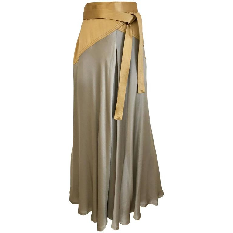 42983e45f27d 90s Vintage Geoffrey Beene gold and grey silk wrap skirt For Sale at ...