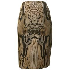 New Alexander McQueen Spring 2009 Wood Grain Print Cream Brown Silk Pencil Skirt