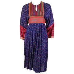 1960's AFGHAN hand embroidered floral dress