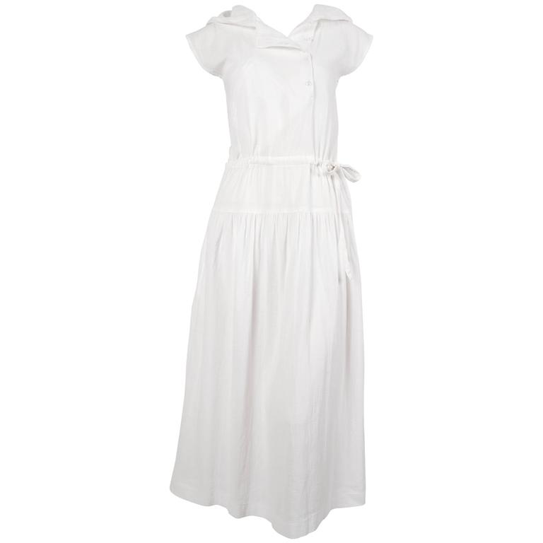1970's CACHAREL white gauze dress with hood