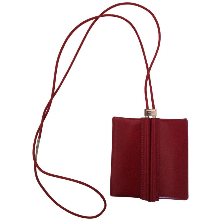 Lovely Hermes Necklace / Coinholder in Red Burgundy Box Leather 1
