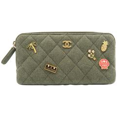 Chanel Khaki Quilted Canvas Charms Gold Metal Chain Shoulder Flap Bag