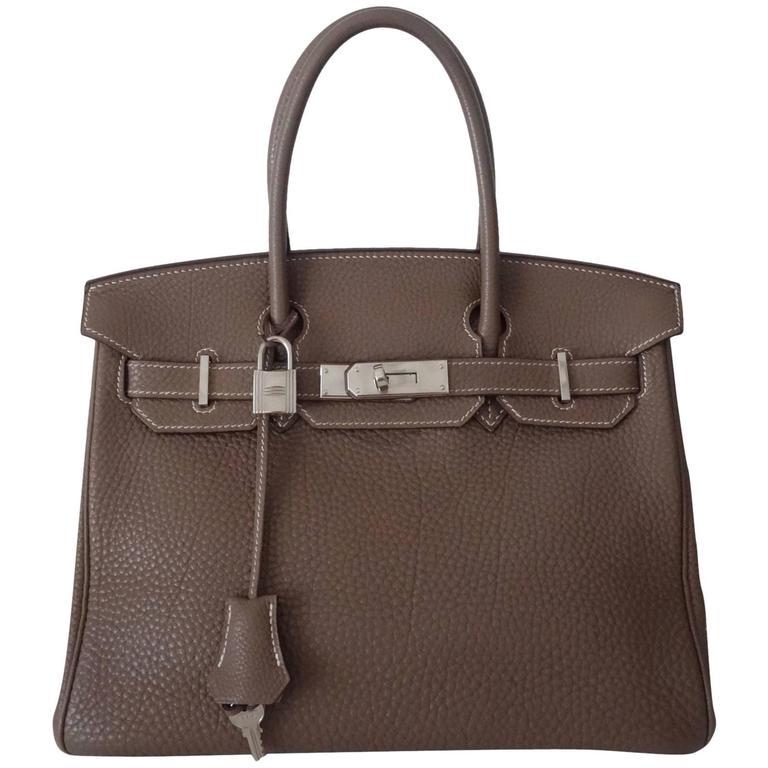 Hermes Birkin Handbag Etoupe Togo Leather PHW 30 cm 1