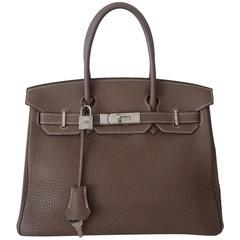 Hermes Birkin Handbag Etoupe Togo Leather PHW 30 cm
