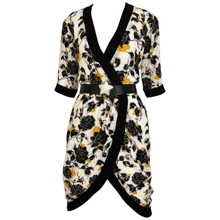 Vintage Saint laurent rive gauche black and yellow floral print wrap dress