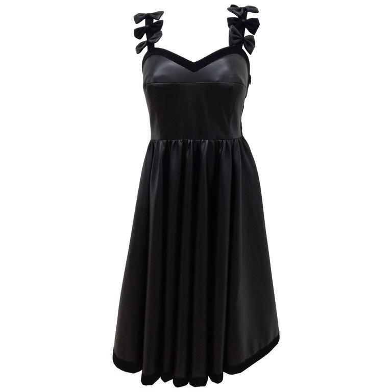 Chanel Black Leather Velvet Bows Dress For Sale