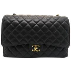 Chanel Classic Double Flap Maxi Quilted Caviar Leather Gold Metal Flap Bag
