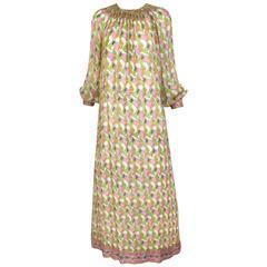 1970s Treacy Lowe multi color silk print maxi caftan vintage dress