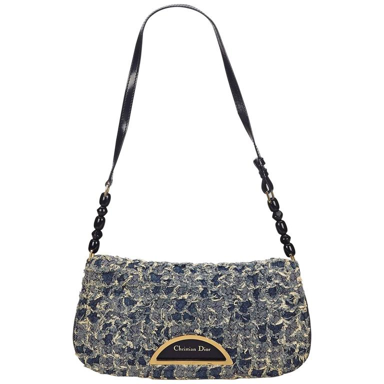 Christian Dior Textured Denim Malice Flap Bag