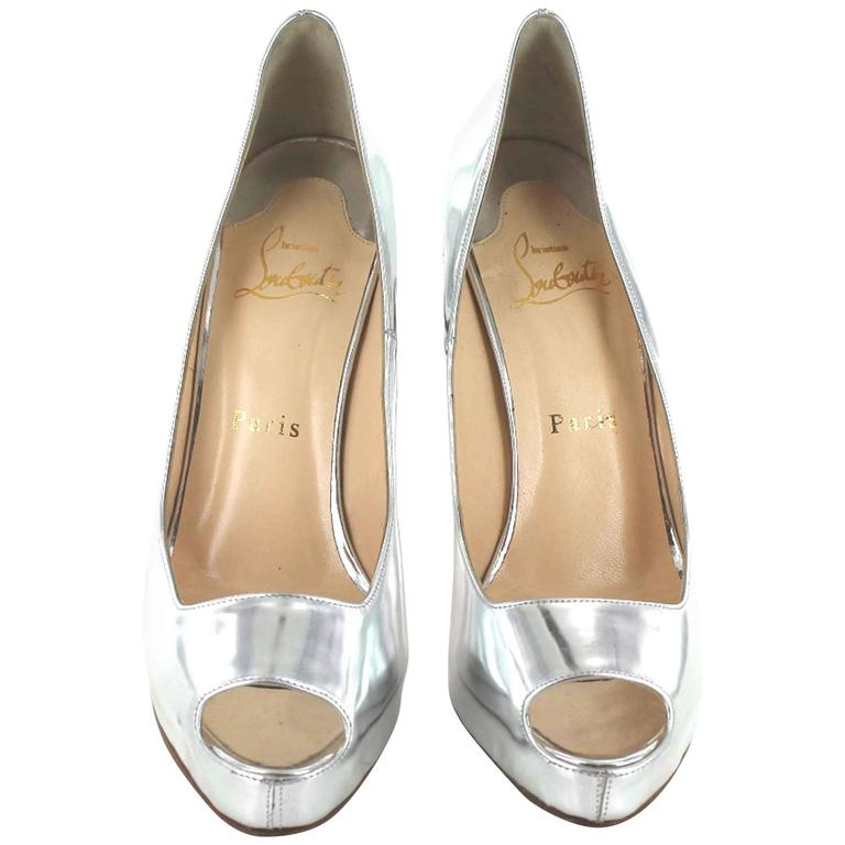 CHRISTIAN LOUBOUTIN Open toe Pumps Size 37FR in Silver Leather